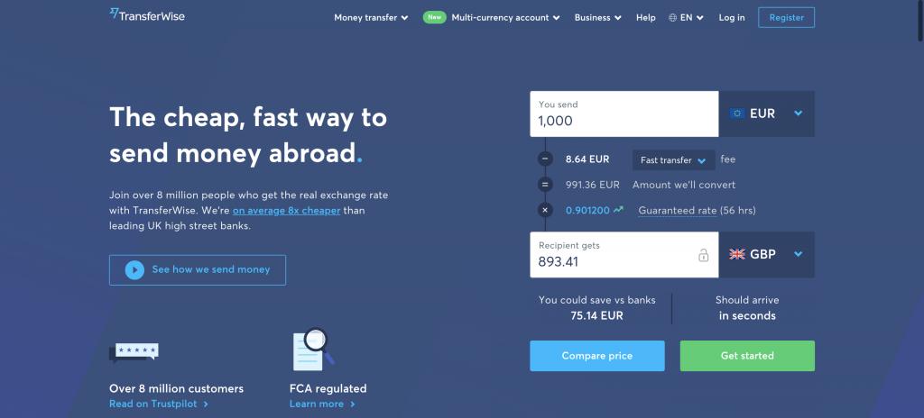 Anteprima del sito Transferwise | carta di debito Transferwise